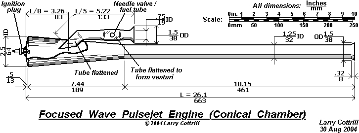 The original Focused Wave Pulsejet Engine drawing. Copyright 2004 Larry Cottrill